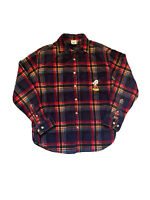 Disney Store Men's Plaid Shirt Size M Red Green Blue Mickey Mouse Embroidered