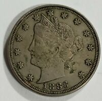 1883 Liberty V Nickel No Cents Very Fine VF Condition US Coin C-1