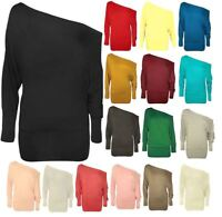 NEW LADIES BATWING TOP LONG SLEEVES OFF SHOULDER BAGGY SLOUCH PLUS SIZE 8-34