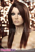 Sleek Straight Heat Friendly Wig MONO PART Black/Auburn Tip