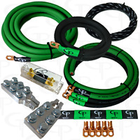 GP 1/0 AWG GAUGE PURE COPPER AMP KIT, BIG 3 Kit & BATTERY TERMINALS GREEN BLACK