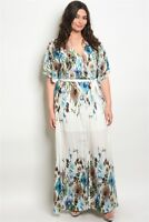 Women's Plus Size Off White Floral Wrap Style Maxi Dress Lined 1X NWT