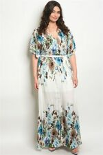Women's Plus Size Off White Floral Wrap Style Maxi Dress Lined 2X NWT