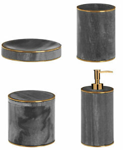 Marble Brass Basin Accesories Lotion Dispenser Tumbler Soap Dish Storage Pot New