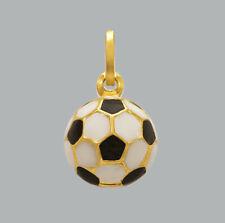 Soccer Ball Pendant Charm 18k Yellow Gold Filled Solid Black Enamel Design