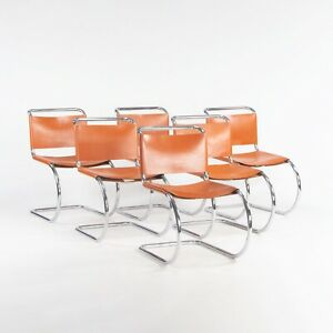 1970s Set of 6 Mies Van Der Rohe for Knoll MR Dining Chairs in Cognac Leather