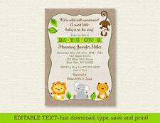 Cute Safari Jungle Animals Printable Baby Shower Invitation Editable PDF