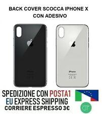 BACK COVER VETRO SCOCCA POSTERIORE PER APPLE IPHONE X NERO BIANCO CON ADESIVO