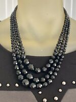 Vintage Necklace Triple Row Layered Black Beads Ornate Round Clasp1950s