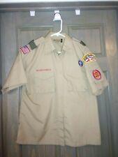 Boy Scouts Of America Shirt, Ladies Medium ,Tan / Beige, Bsa, Uniform, Patches