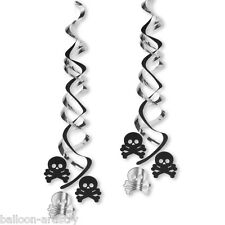 2 PIRATE AHOY Birthday Party Skull Hanging Deluxe Swirl Foil Decorations