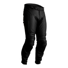 RST Axis CE Leather Motorcycle Motorbike Trousers Short - Black