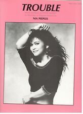 "NIA PEEPLES ""TROUBLE"" SHEET MUSIC-PIANO/VOCAL/GUITAR-1988-RARE-BRAND NEW ON SALE"