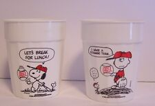 Snoopy Charlie Brown Baseball Cups Oscar Mayer Advertising Premium Peanuts VTG