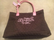 """Girls  Belvah Luggage Tote with  """"Pretty Brown Girl"""" Logo"""