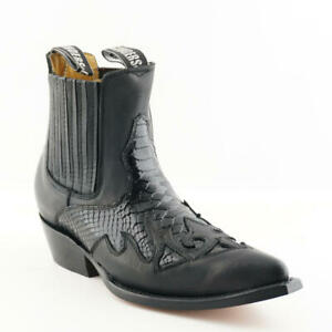 Grinders Nevada Mens Black Leather Snake Croc Pointed Toe Slip On Ankle Boots