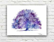 Purple Oak Tree Abstract Watercolor Painting Art Print by Artist DJ Rogers