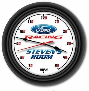 FORD Racing ST RS PERSONALIZED Wall Clock - Man Cave Garage Auto Shop GREAT GIFT