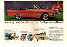 1965 RAMBLER CLASSIC / UP TO 270HP  -  ORIGINAL 2-PAGE PRINT AD