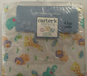 CARTER'S 3 LAP PADS BURP WATERPROOF BED CHANGING TABLE New Vintage 2001 Animals