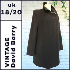 Vintage DAVID BARRY LONDON Wool Cashmere Mix Coat Size 18 / 20 Brown Winter D834