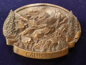 Vintage large 1970s Bergamot Brass Works Belt Buckle California State mountains