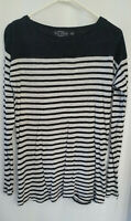 Women's Long Sleeve Top Size S Evil Twin Black & White Stripe Stretch Split Back