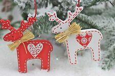 Gisela Graham Navidad Rojo Madera Blanca Nórdico Scandi Reno Decoración