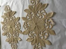 Vintage Unusual Linen Hand Embroidered Table cover in UNUSED condition x 2  /