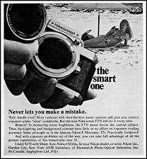 1968 Woman Bikini Beach Nikon Nikkormat Camera vintage photo print ad ads70