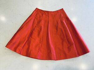 NWT Banana Republic Red Silk Pleated Skirt Size 0