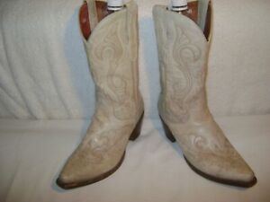 DAN POST WOMENS 8M IVORY DISTRESSED LEATHER SNIP TOE FANCY STITCHN COWGIRL BOOTS