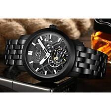 AILANG Men's Steampunk Black Skeleton Self-Winding Auto Mechanical Wrist Watch