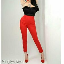 New Deadly Dames red cigarette pants trousers rockabilly pinup smart retro S 8