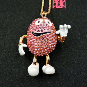 Hot Pink Rhinestone Crystal Mr. Chocolate Bea Betsey Johnson Chain Necklace
