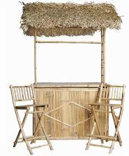 New Real Bamboo Tiki Palapa 4pc Patio Bistro Set Zen Asian Beach Chairs Table