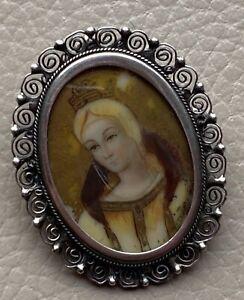 Antique Miniature Portrait Brooch Italian Silver 800 Pendant 19th Century Gothic