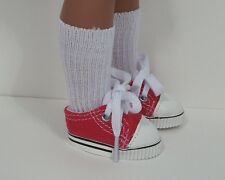 """Red Canvas Tennis Doll Shoes For 14"""" American Girl Wellie Wishers (Debs)"""