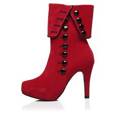 Women Fashion Ankle Boots High Heels Winter Female Red Buttons Shoes Plus Size