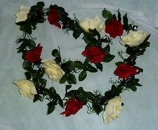 Rosengirlande bordeaux / creme ca.250 cm  Blüte ca. 10 cm Seidenblumen