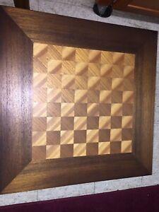 Ricardo Lynn & Co Vintage Mid Century 1960s Teak Wood Checker Chess Table