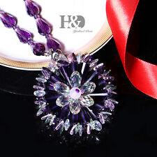 Purple Hanging Rainbow Suncatcher Crystal Peony Prism Pendulum Feng Shui Pendant