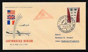 Berlin Mi-Nr: 188 Berliner Luftbrücke auf Ersttagsbrief  befördert