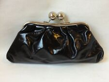 Black Faux Leather Clutch Evening Bag Purse Silver Metal Frame Kiss Lock Handbag