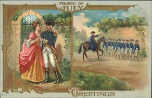 4th Fourth of July George Washington Trrops & Martha c1910 Postcard