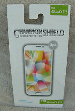 Champion Shield Screen Protector For Galaxy S5 (2 pk.) ~ NEW