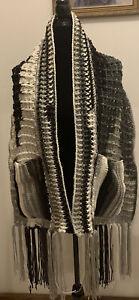 Womens Handmade Crocheted Black White Gray Large Pocket Shawl Wrap New
