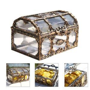 Transparent Pirate Treasure Chest Jewelry Trinket Keepsake Storage Box Home Deco