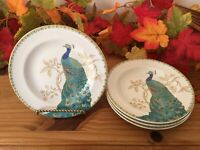 "222 FIFTH ""PEACOCK GARDEN"" SET OF 4 APPETIZER BREAD PLATES, 6 1/2"", BEAUTIFUL!!!"