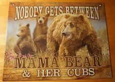 Mama Bear & Cubs Grizzly Mom Cabin Lodge Camping Country Primitive Home Decor